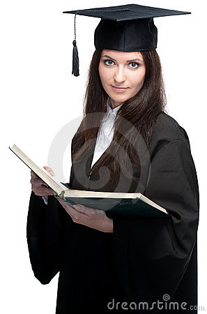 Young beauty graduate woman