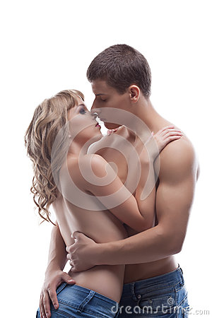 Young beauty man kiss girl posing topless