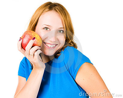 Young beauty woman with red apple