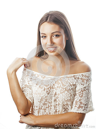Free Young Beauty Woman Smiling Dreaming Isolated On White Close Up Emotional Adorable Girl Stock Images - 67984894