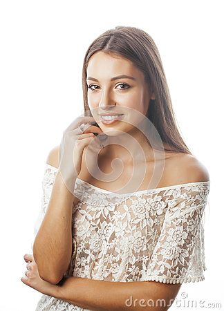 Free Young Beauty Woman Smiling Dreaming Isolated On White Close Up Emotional Adorable Girl Royalty Free Stock Photography - 71275607