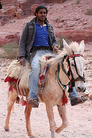 Young Bedouin riding horse Editorial Stock Photo