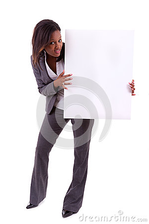 Young black African American woman holding a blank board - Afric