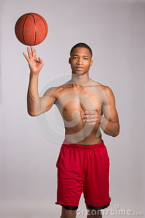 Young Black College Student Holding Basket Ball