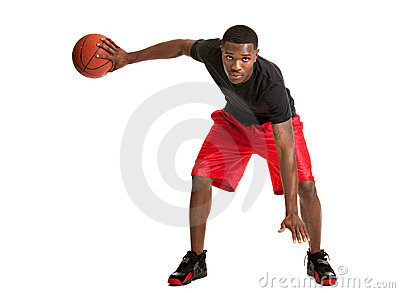Young Black College Student Playing Basket Ball