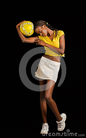 Young black female soccer player