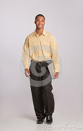 Young Black Male Holding Laptop Full Body