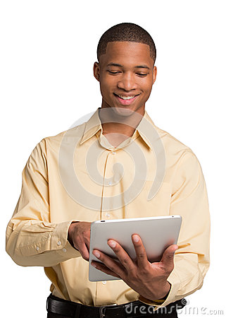 Young Black Male Texting on Touch Pad Isolated