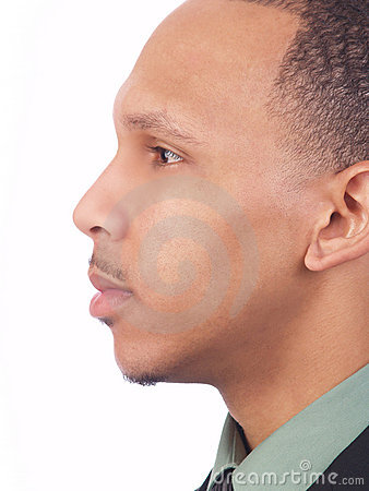 Young black man closeup profile portrait