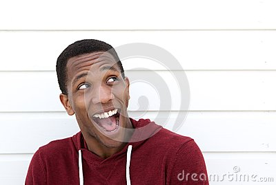 Young black man with funny expression