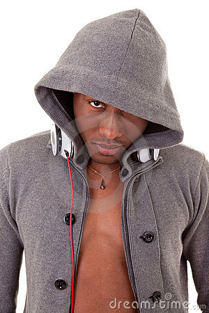 Young black man with headphones
