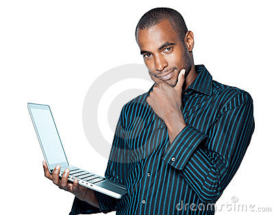 Young black man with laptop