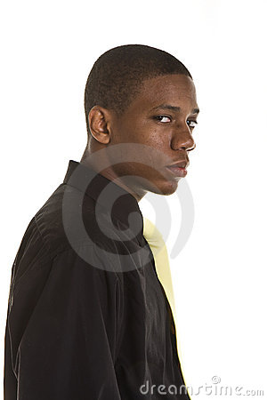 Young Black Man Looking to Side