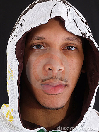 Young black man portrait in hood
