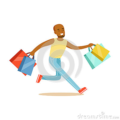 Young black man running with shopping bags colorful character vector Illustration Vector Illustration