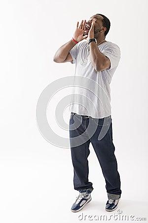 Young black man shouting
