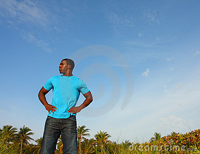 Young Black Man Standing Tall