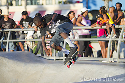 Young Black Teen Performing At Skateboard Park Editorial Stock Photo