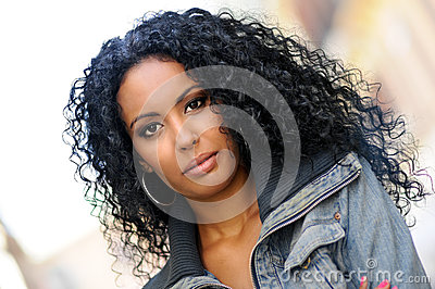 Young black woman, afro hairstyle