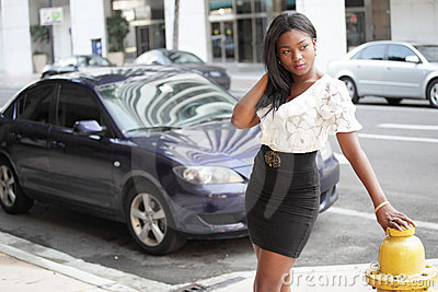 Young black woman in a city setting