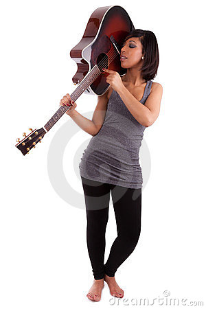 Free Young Black Woman Playing  Guitar Stock Photography - 23789282