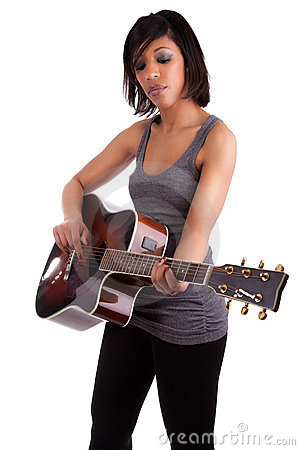 Free Young Black Woman Playing  Guitar Stock Photo - 23829660