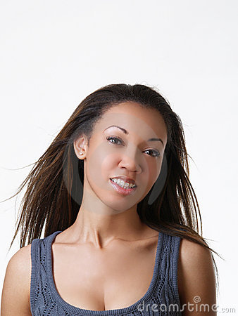 Young black woman portrait with braces