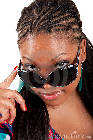 Young black woman in sunglasses glamour portrait