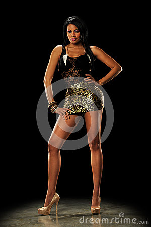 Young Black Woman wearing a mini skirt