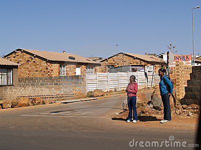 Young black women waiting on Soweto corner. Editorial Photography