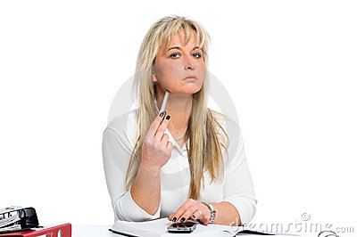 Young blond businesswoman is