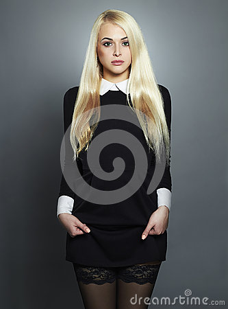 Free Young Blond Woman.Beautiful Girl In Black Dress.schoolgirl Royalty Free Stock Photos - 52003148