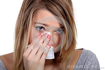 Young blond woman crying