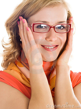 Young blond woman with glasses in hand