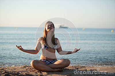 Relaxing yoga girl