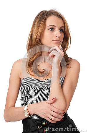 Young blond woman thinking looking away