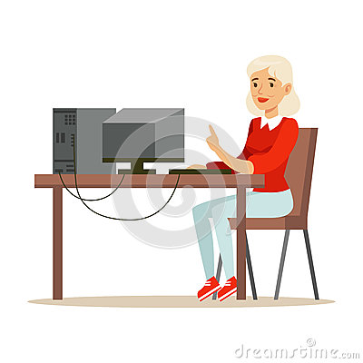 Young blond woman using laptop while sitting at her desk, colorful character vector Illustration Vector Illustration