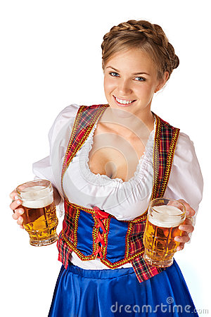 Free Young Blond Woman With Two Mugs Of Beer Stock Image - 33808831