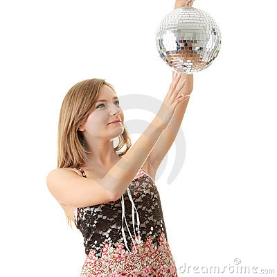 Young blond women with disco ball