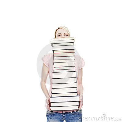 Young blonde attractive woman holding books