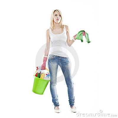 Young blonde attractive woman housecleaning