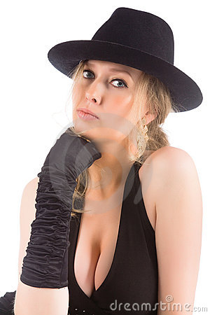 Young blonde with black hat