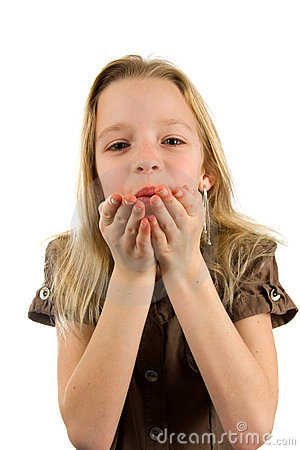 Young blonde girl with blow kiss