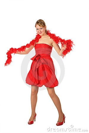 Young blonde girl in red dress and boa