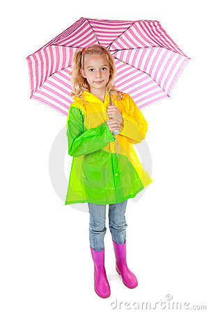 Young blonde girl under pink umbrella