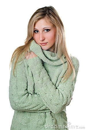 Young blonde in sweater