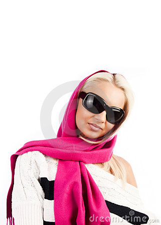 Young blonde wearing pink scarf and staring