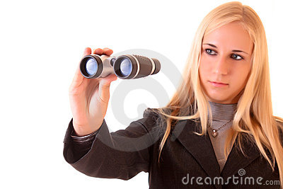 Young blonde woman with binocular
