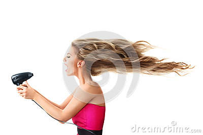 Woman drying long hair