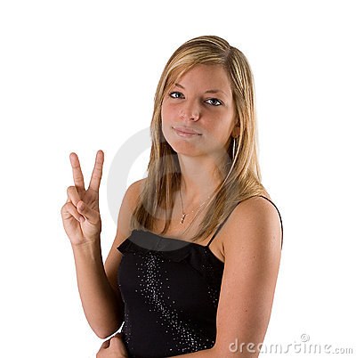 Free Young Blonde Woman Holding Two Fingers Stock Images - 857224